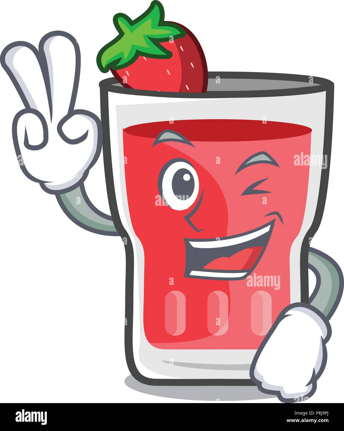 Two finger strawberry mojito character cartoon - Stock Image