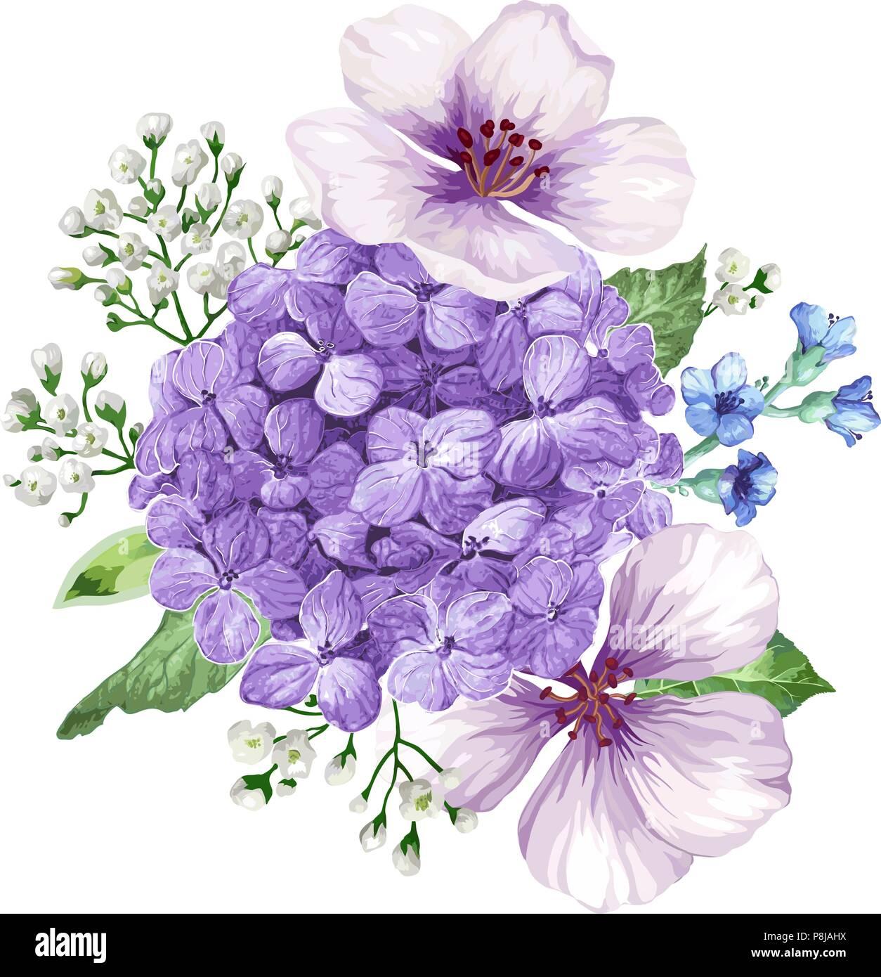 Bouquet Of Apple Tree Flower Gypsophila In Watercolor Style