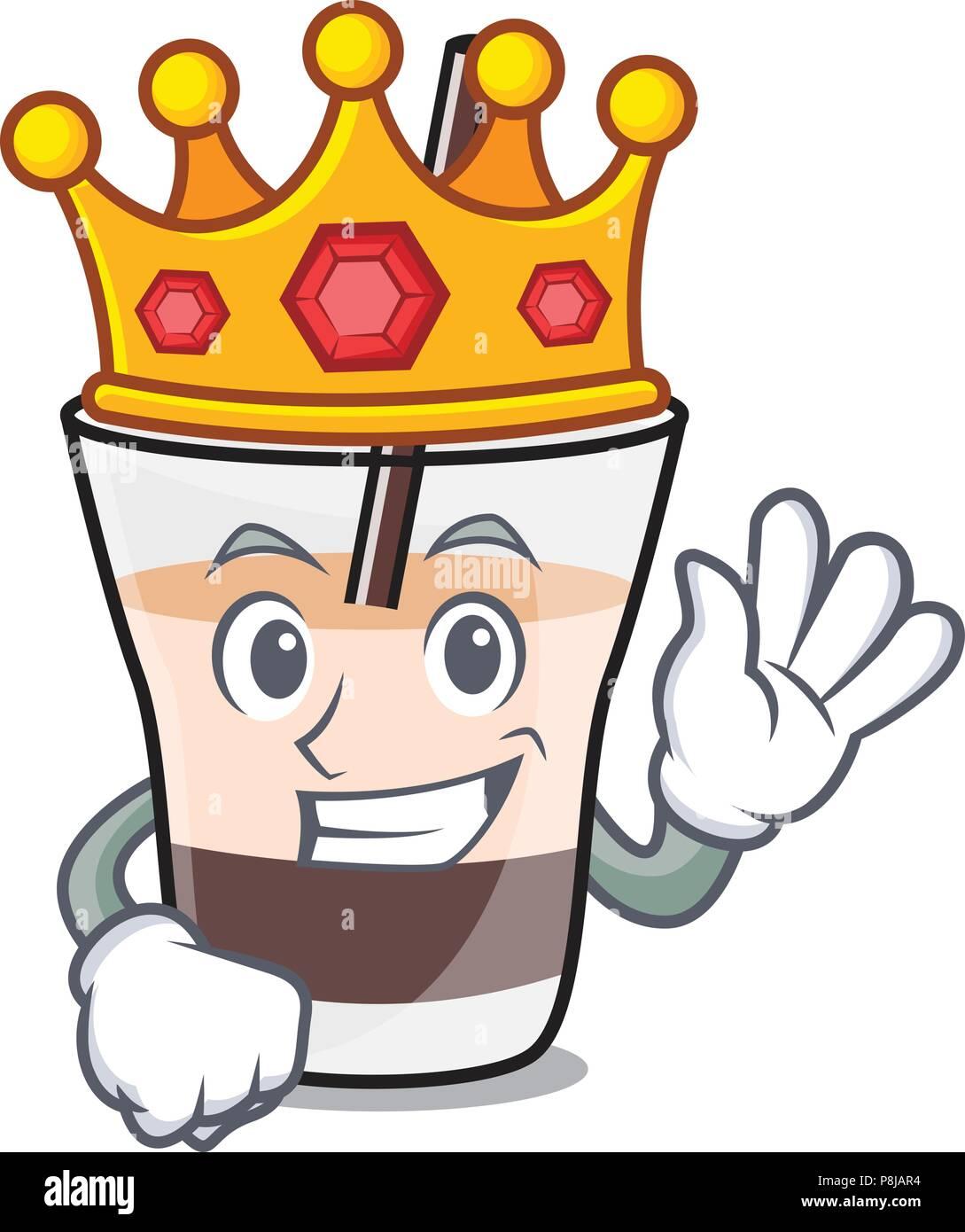 King white russian mascot cartoon - Stock Image