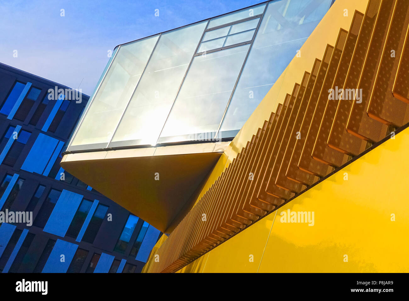 AACHEN, NRW / GERMANY - MARCH 29, 2018: Street view of the modern headquarter office building of the AachenMuenchener insurance company, Aachen. - Stock Image
