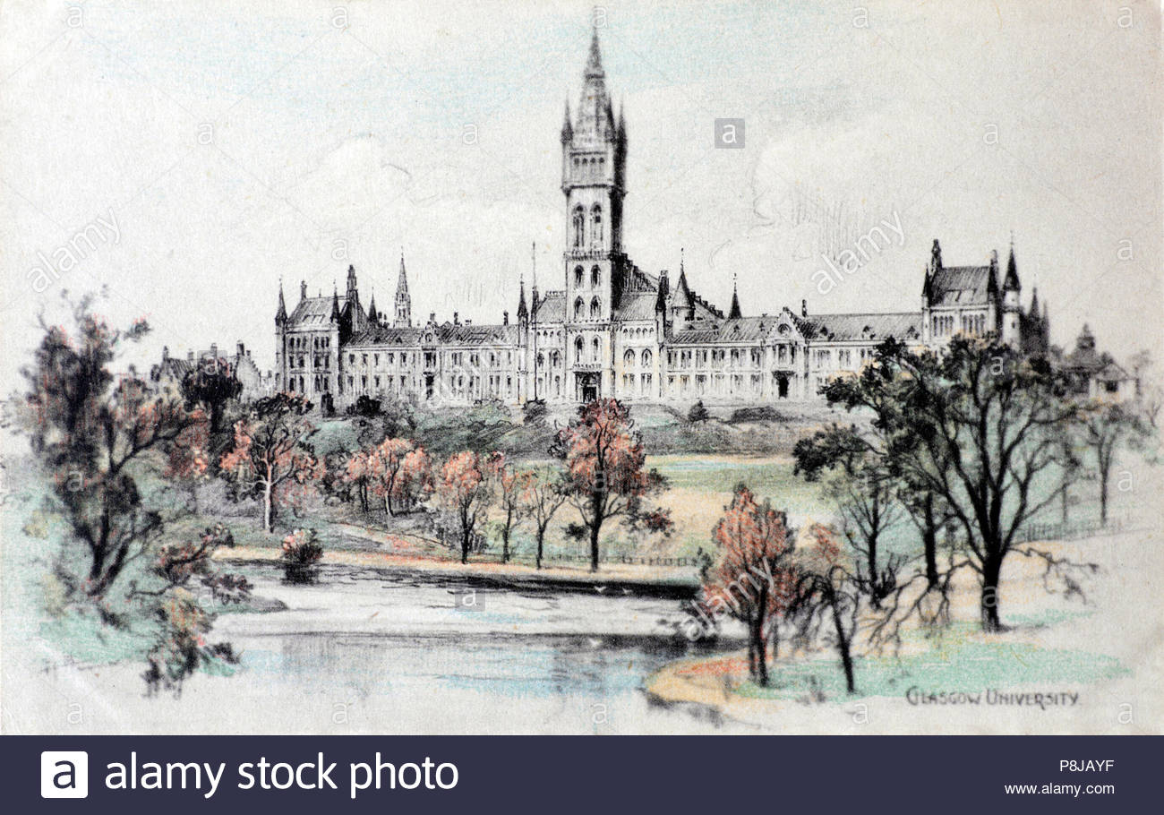 Glasgow University, vintage postcard from 1920s Stock Photo