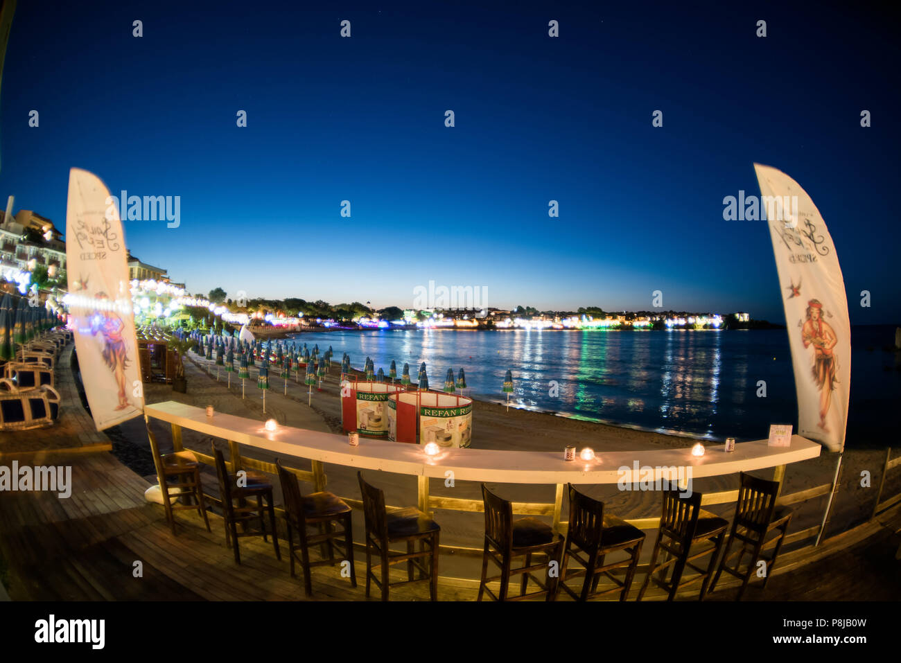 Sozopol, Bulgaria - September 11, 2016: Aloha beach bar on the coast old city Stock Photo