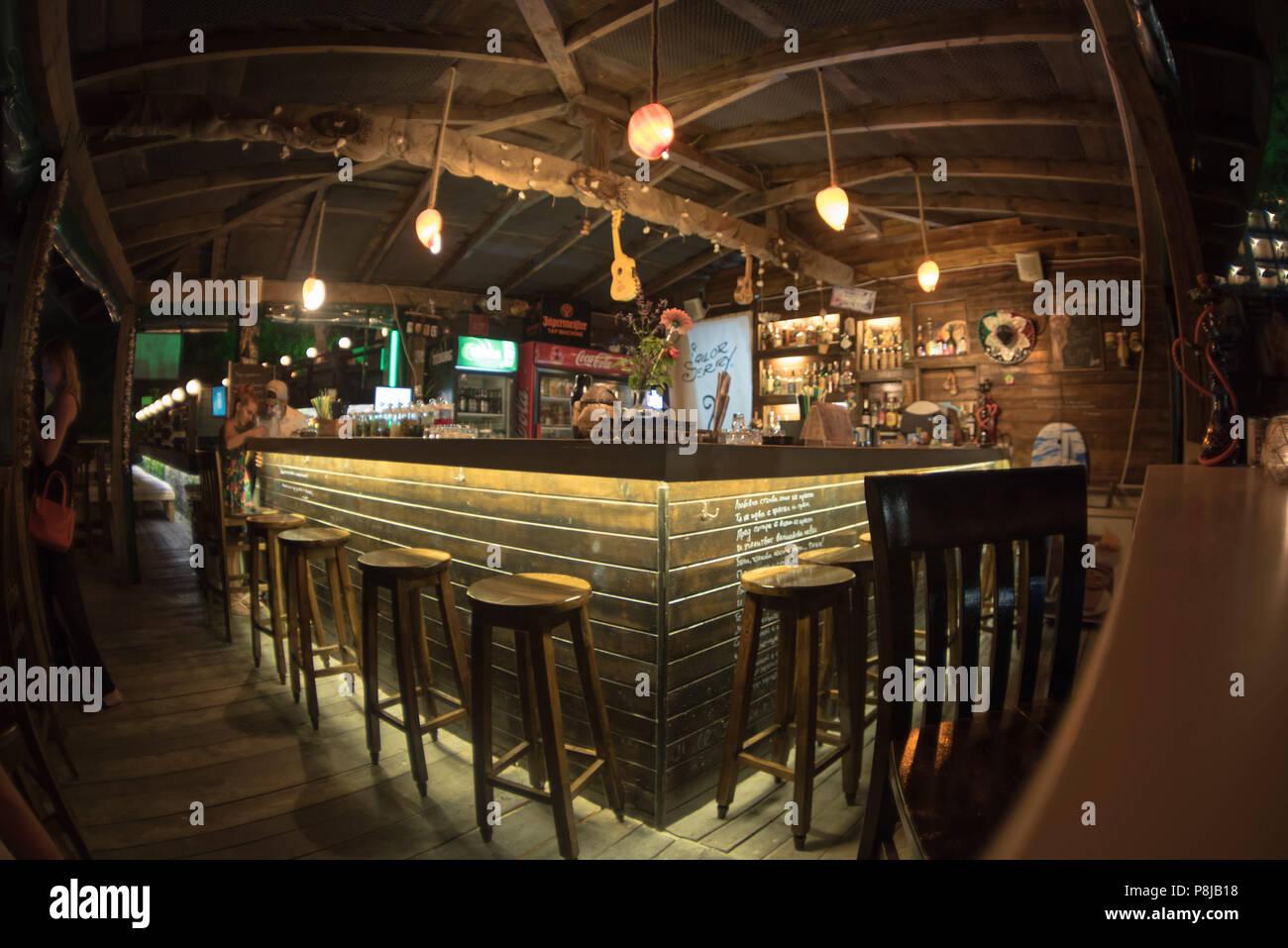 Sozopol, Bulgaria - September 11, 2016: Aloha beach bar on the coast old city Stock Photo
