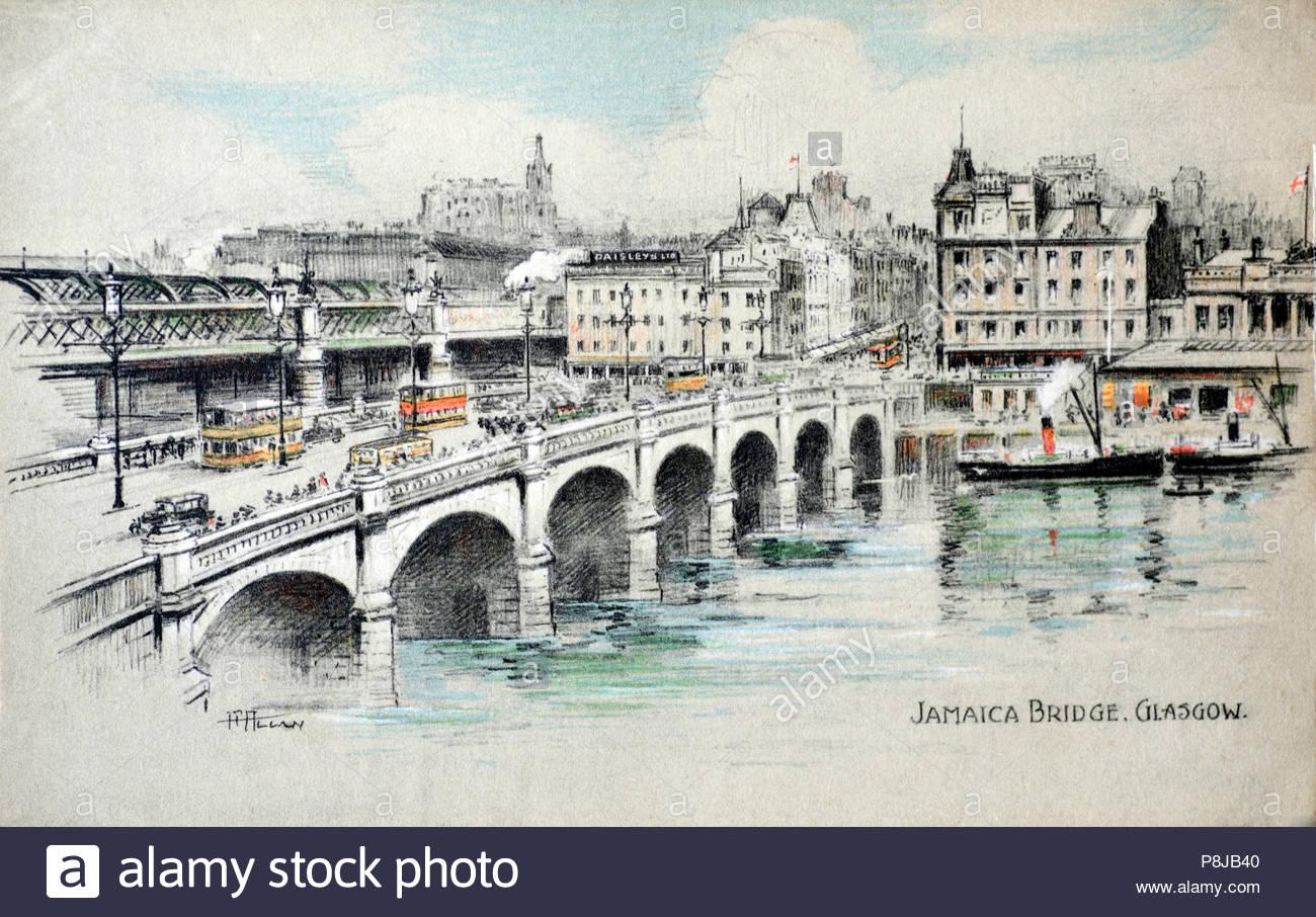 Jamaica Bridge Glasgow, vintage postcard from 1920s Stock Photo