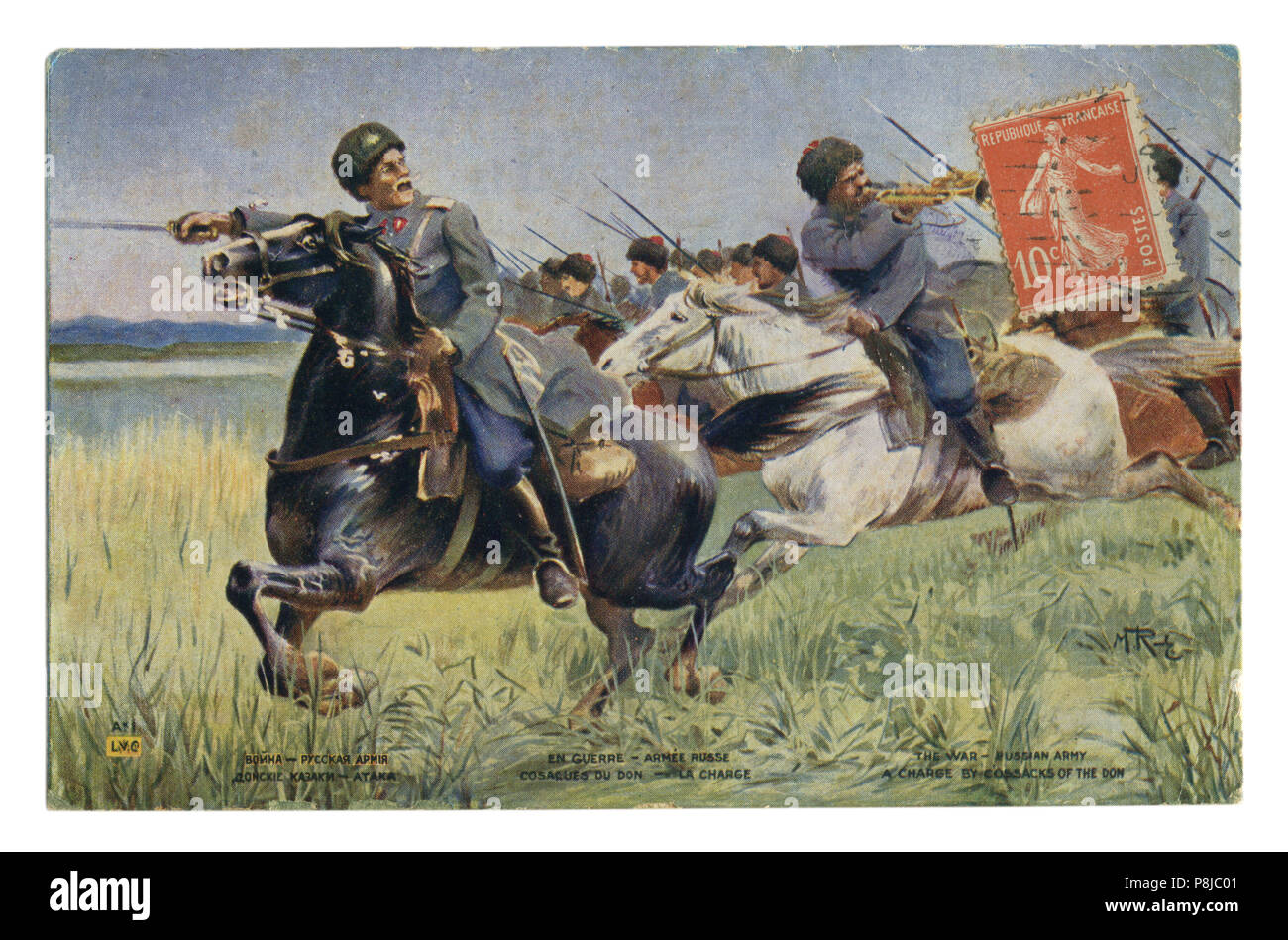 French historical postcard: Don Cossacks in the attack. A squadron of the Imperial Russian cavalry with drawn swords. world war one 1914-1918. Russia - Stock Image