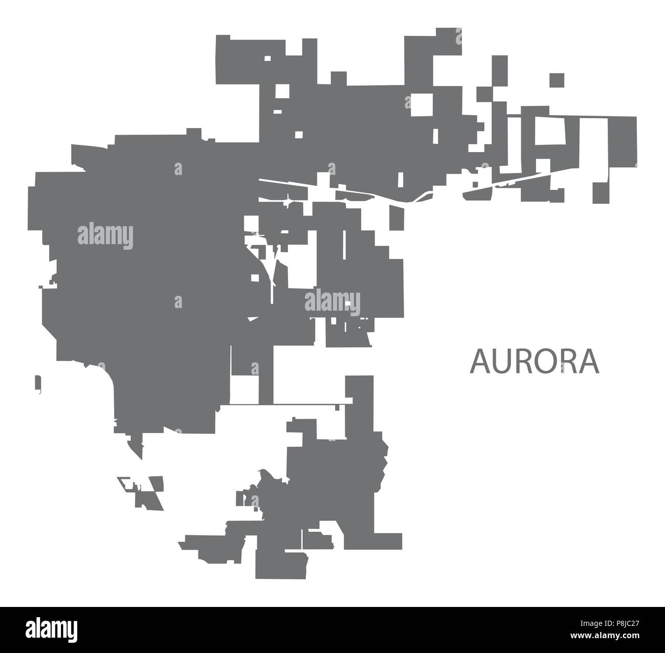 Aurora Colorado city map grey illustration silhouette - Stock Image