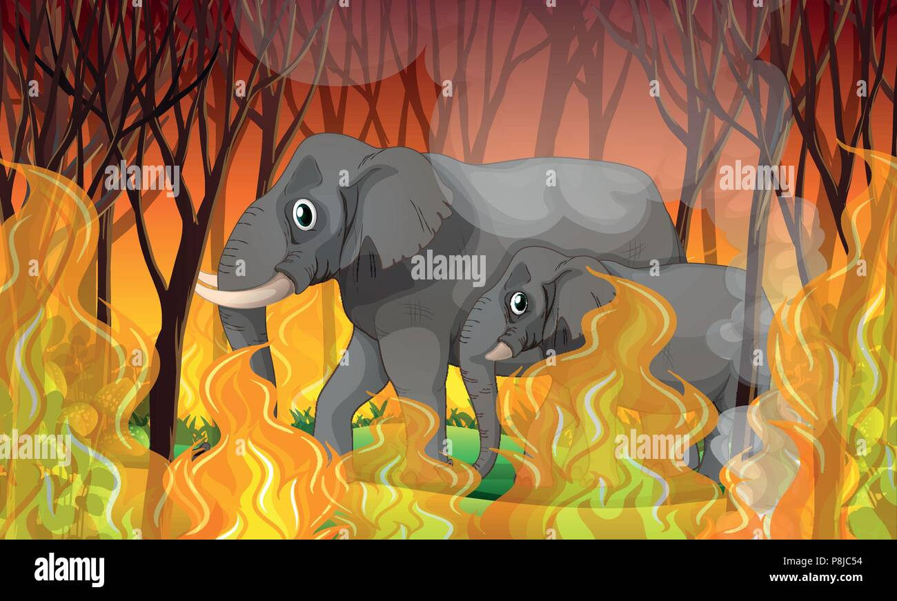 Elephant Running Away from Wildfire illustration Stock Vector