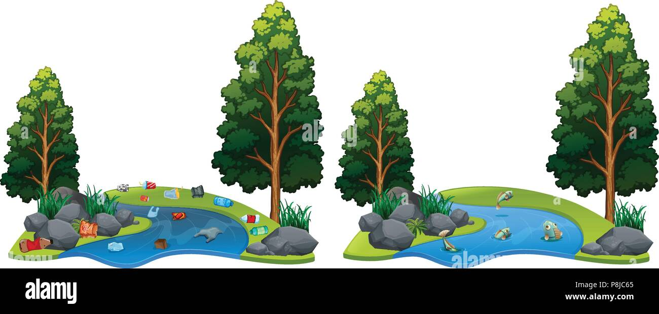 Comparison Between Dirty and Clean River Side illustration - Stock Vector