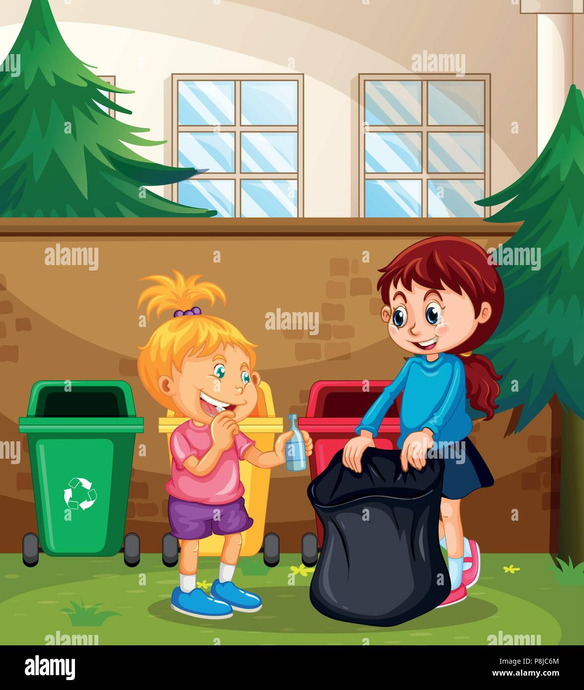 Children Sorting the Waste illustration - Stock Image