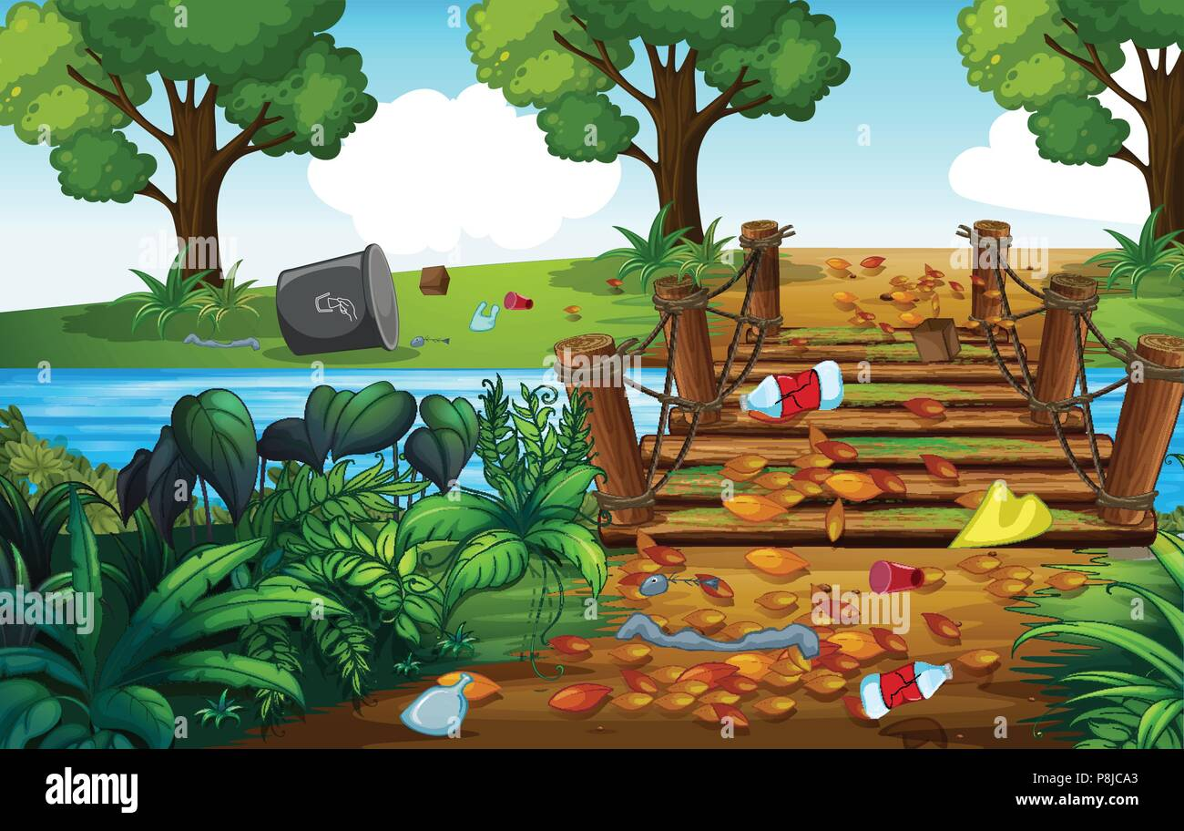 A Forest Full of Trash illustration Stock Vector