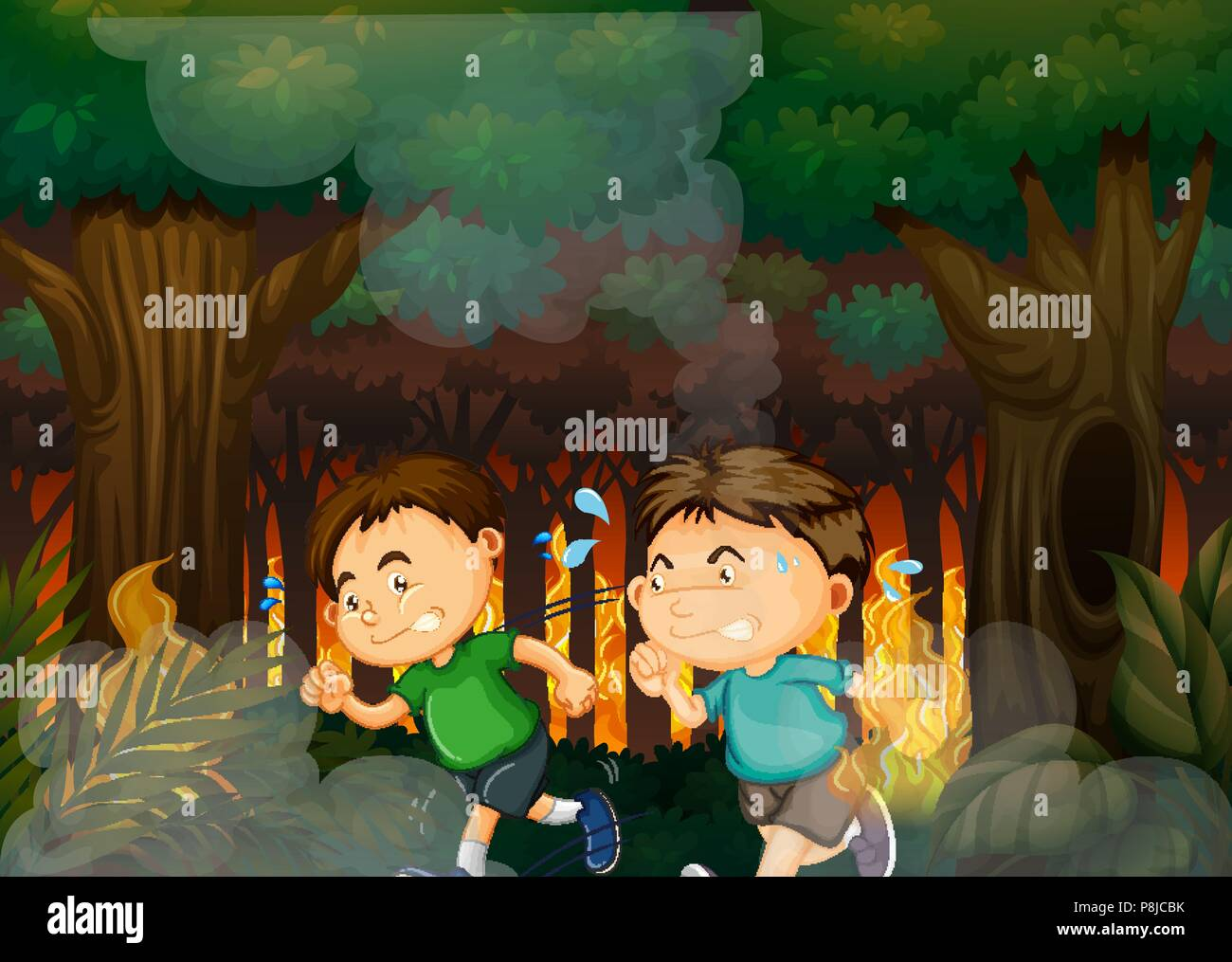 Boys Running Away from Forest Wildfire illustration Stock Vector