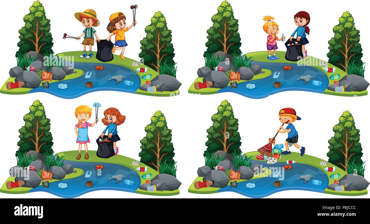 A Set of Children Cleaning River illustration - Stock Vector