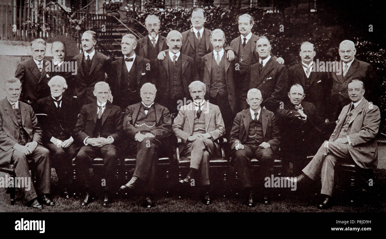 The first Labour government that took office in January 1924. The first MacDonald ministry of the United Kingdom lasted until November 1924.  Ramsey MacDonald had become Labour's first proper leader in 1922. As well as being Prime Minister, he became his own Foreign Secretary, a dual role which he performed well enough, but which alienated the second man in the party, Arthur Henderson, who became Home Secretary. Philip Snowden, the evangelical ex-member of the Independent Labour Party (ILP) became a rigidly orthodox Chancellor of the Exchequer. - Stock Image
