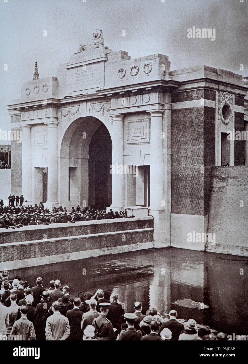 The Menin Gate Memorial to the Missing is a war memorial in Ypres, Belgium, dedicated to the British and Commonwealth soldiers who were killed in the Ypres Salient of World War I and whose graves are unknown. The memorial is located at the eastern exit of the town and marks the starting point for one of the main roads out of the town that led Allied soldiers to the front line. Designed by Sir Reginald Blomfield and built and maintained by the Commonwealth War Graves Commission, the Menin Gate Memorial was unveiled on 24 July 1927 by Field Marshal Lord Plumer. - Stock Image