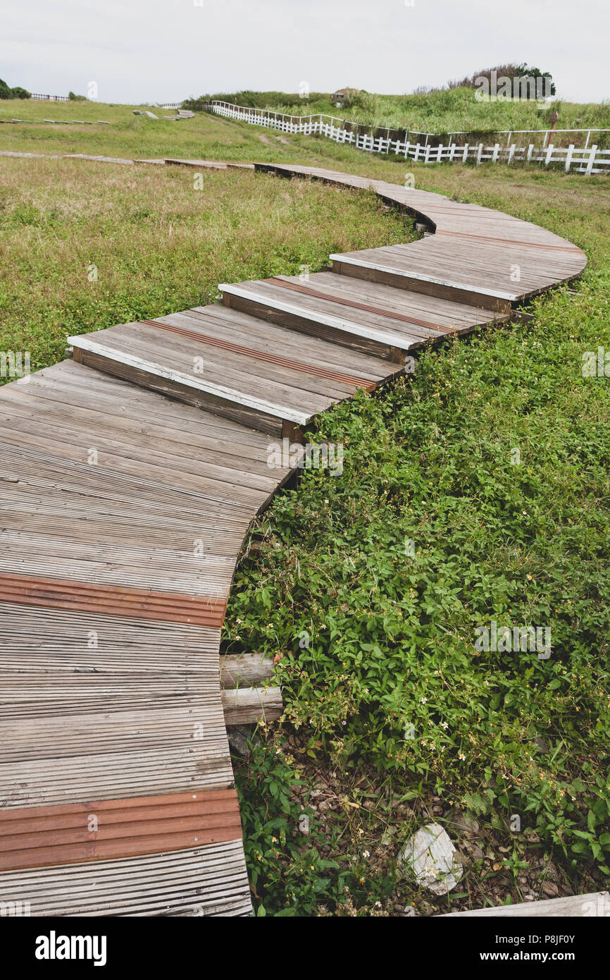 S-shape curve wooden footpath in grass, Mambo (Ocean Sunfish) Oceanic Recreation Park, Hualien County, Taiwan. Vintage toned Stock Photo