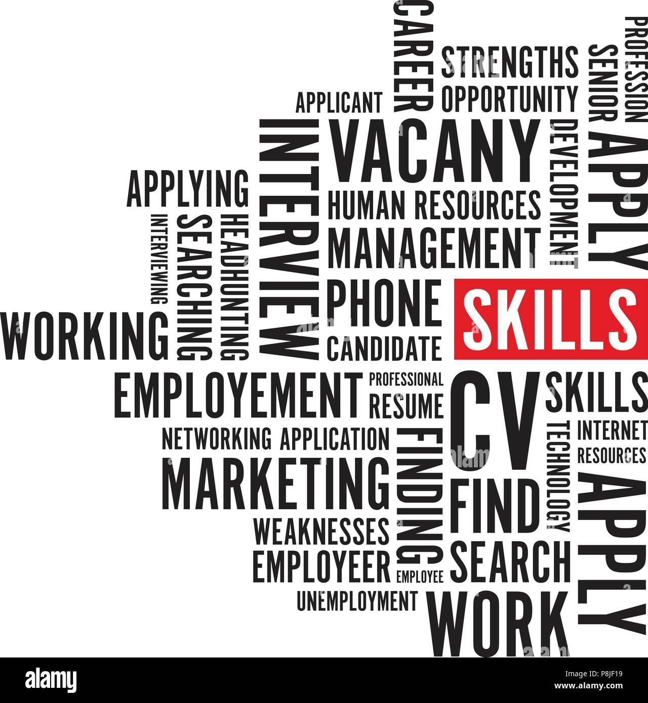black skills text background - Stock Image