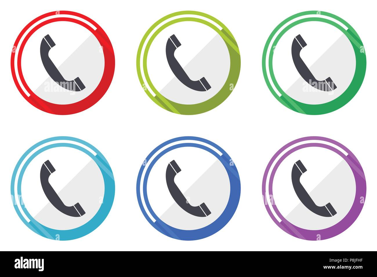Phone Vector Icons Set Of Colorful Flat Design Internet Symbols On