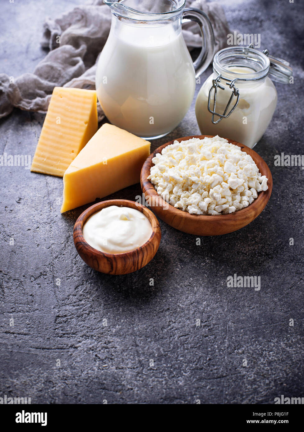 Assortment of various dairy products. - Stock Image