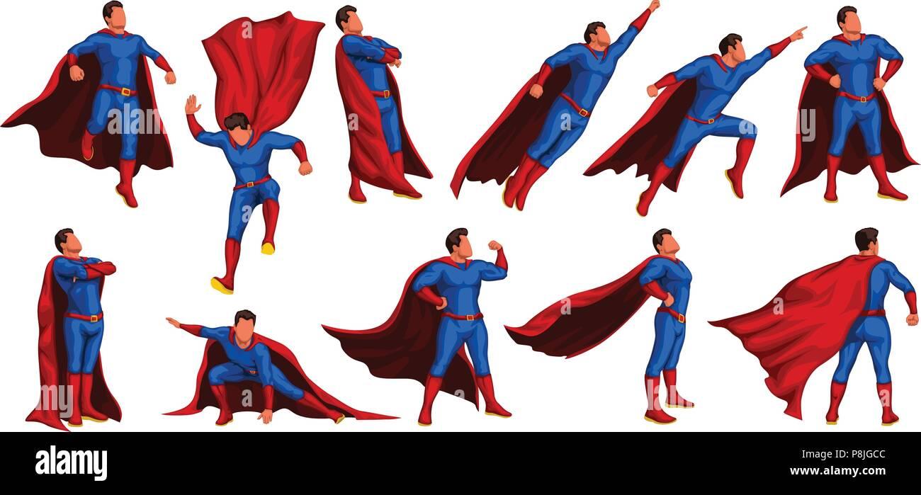 super hero set - Stock Vector