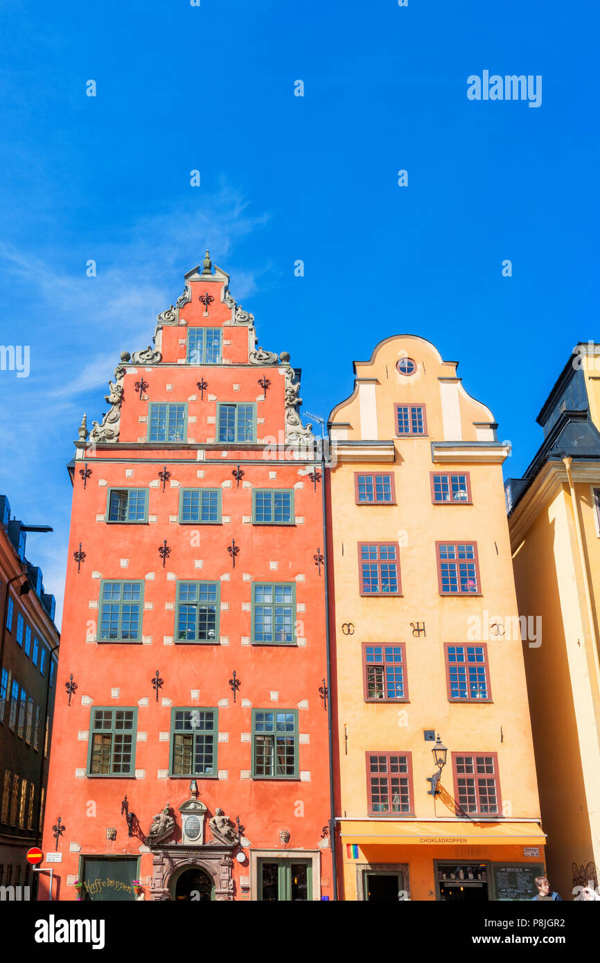 Tall houses in old town Stockholm, Sweden - Stock Image