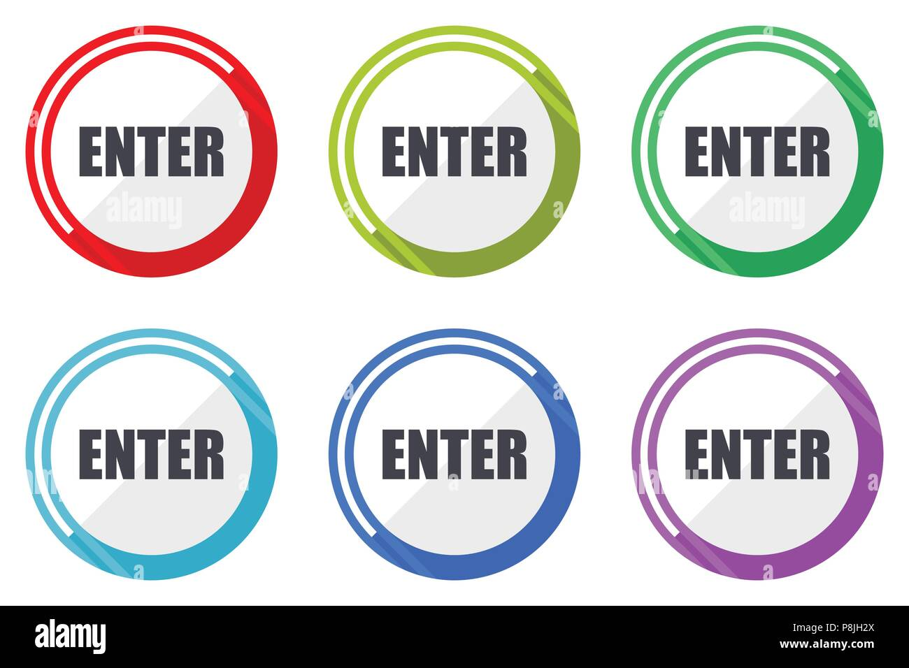 Enter Vector Icons Set Of Colorful Flat Design Internet Symbols On