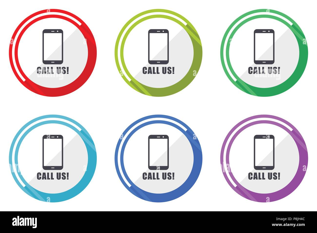 Call Us Vector Icons Set Of Colorful Flat Design Internet Symbols
