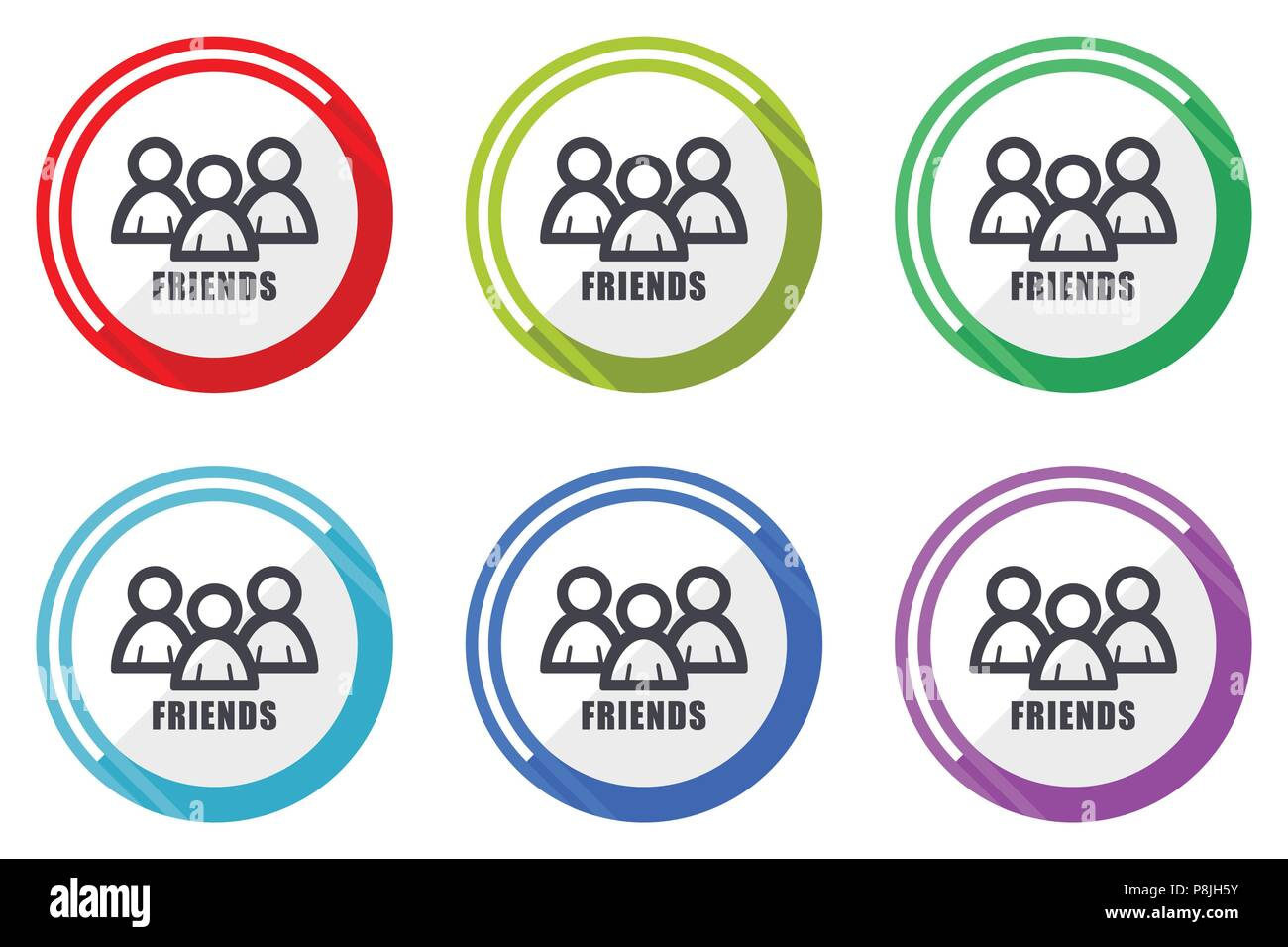 Friends Vector Icons Set Of Colorful Flat Design Internet Symbols