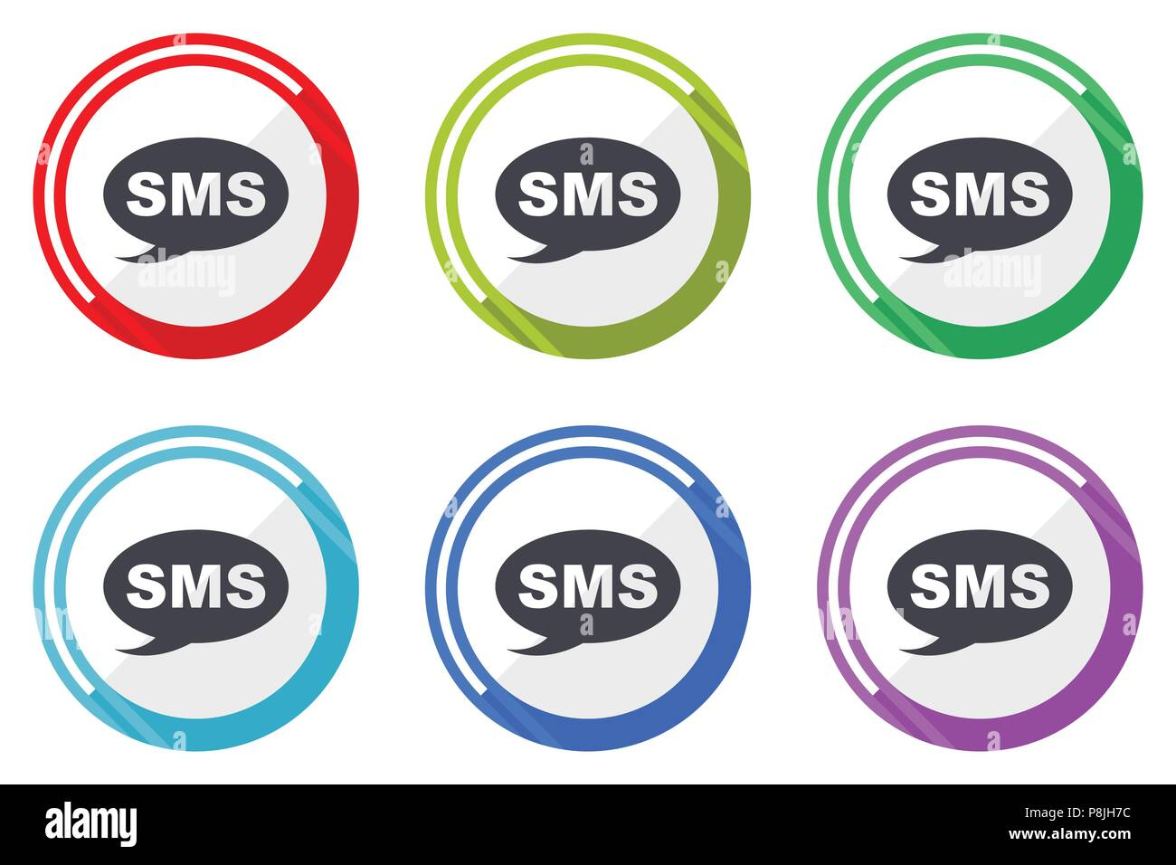 Sms Vector Icons Set Of Colorful Flat Design Internet Symbols On