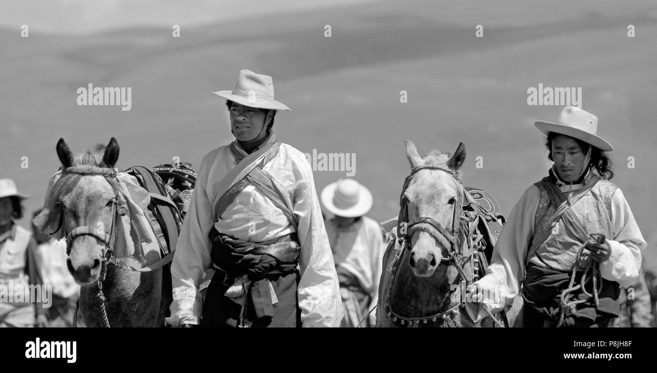 Khampas walk their horses back to the starting line at the Litang Horse Festival - Kham, Sichuan Province, China, (Tibet) - Stock Image