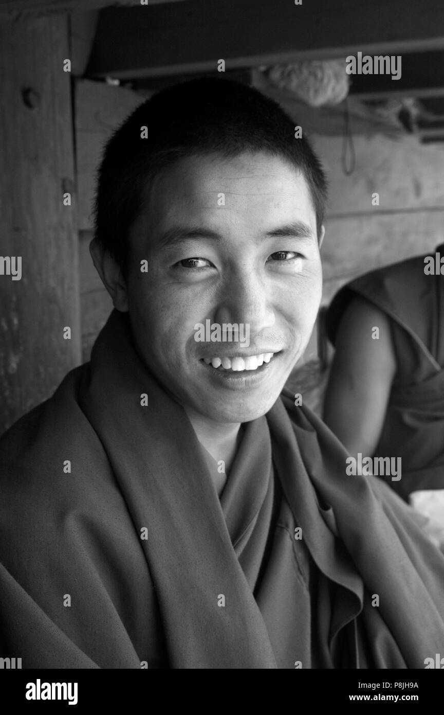 Gelukpa Tibetan Buddhist monk in the Dhokham Garther Monastery - Kham, Sichuan Province, China, (Tibet) Stock Photo