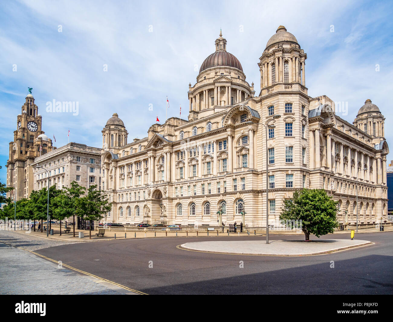 Liverpool waterfront and Pier Head, UK - Stock Image