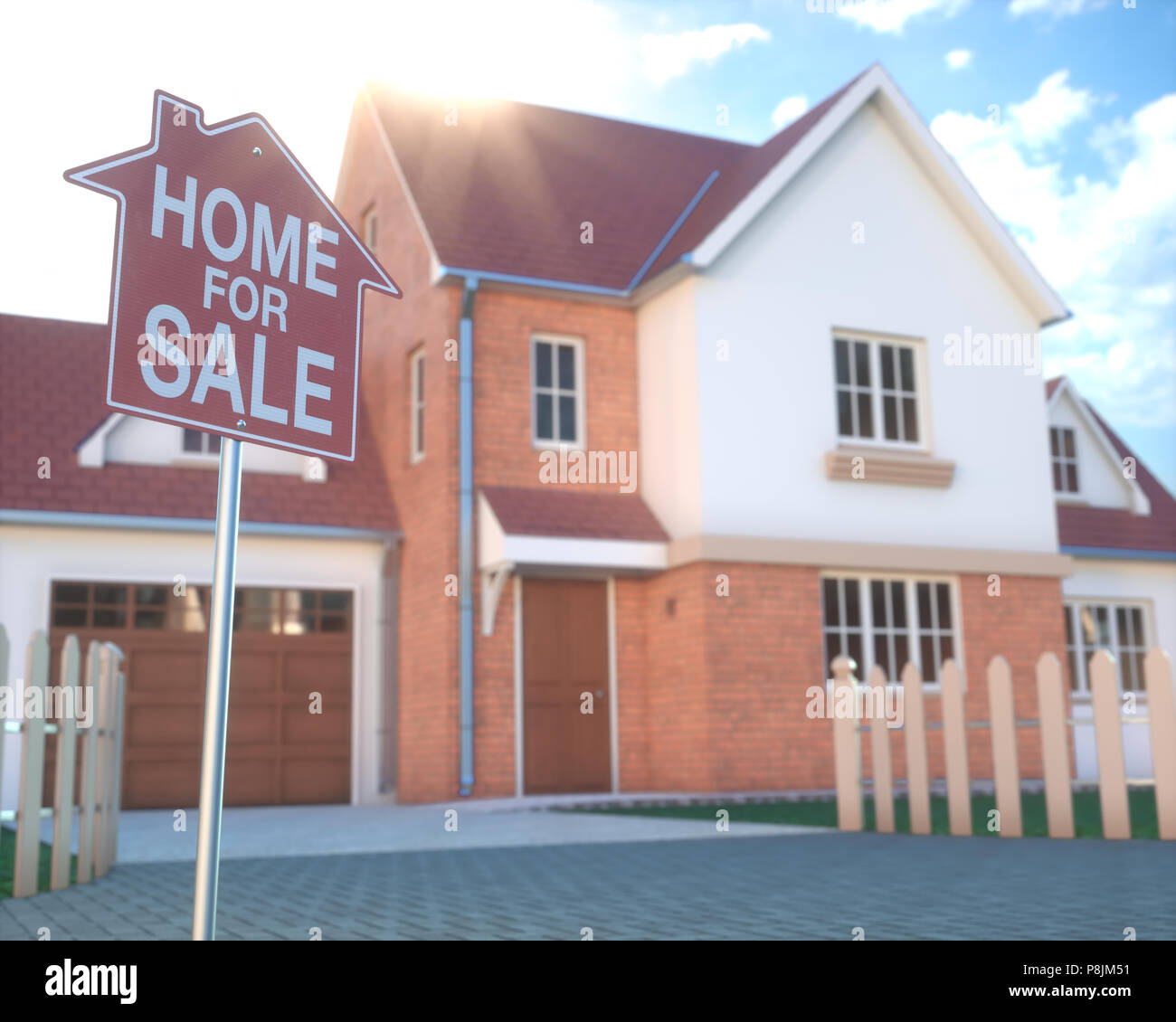 Home for sale, real estate sign in front of beautiful house with beam of sunlight coming from the background. Home business and finance concept. - Stock Image