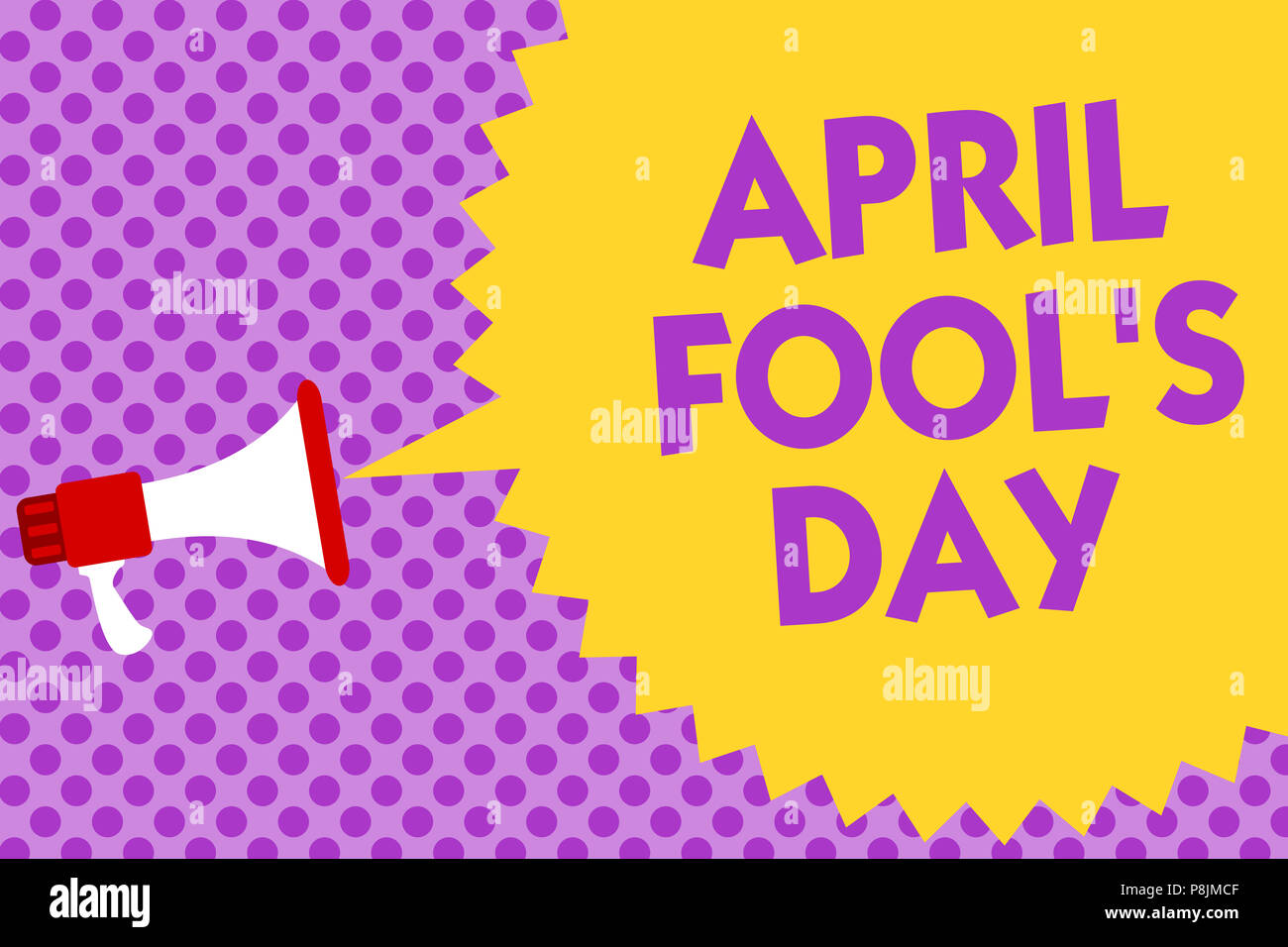 Writing note showing April Fool s is Day. Business photo showcasing Practical jokes humor pranks Celebration funny foolish Multiline text purple bubbl - Stock Image