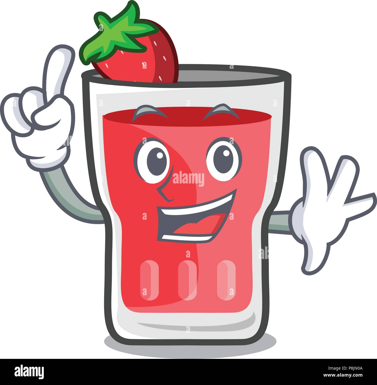 Finger strawberry mojito mascot cartoon - Stock Image