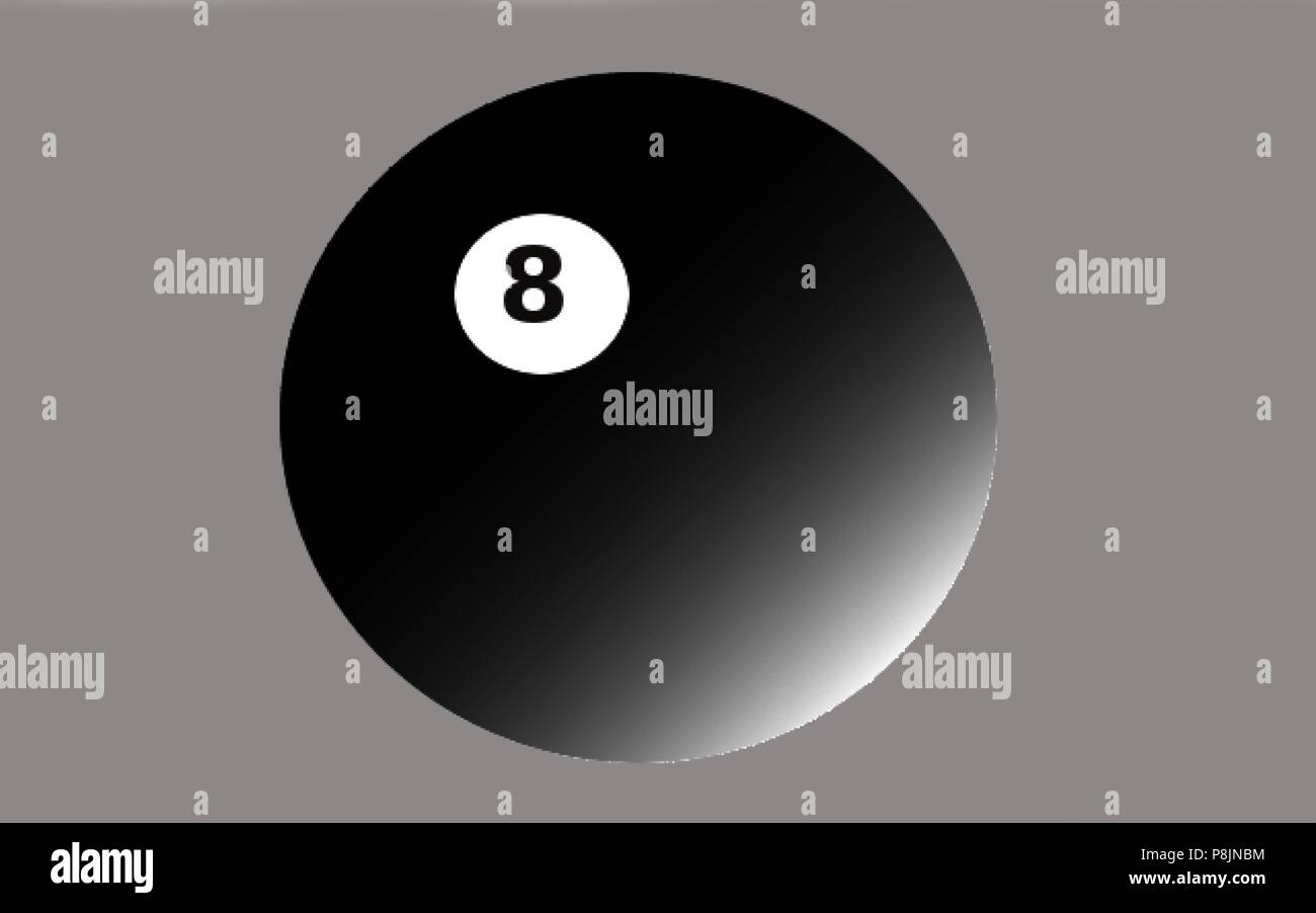 8 ball with gradation against grey background - Stock Vector