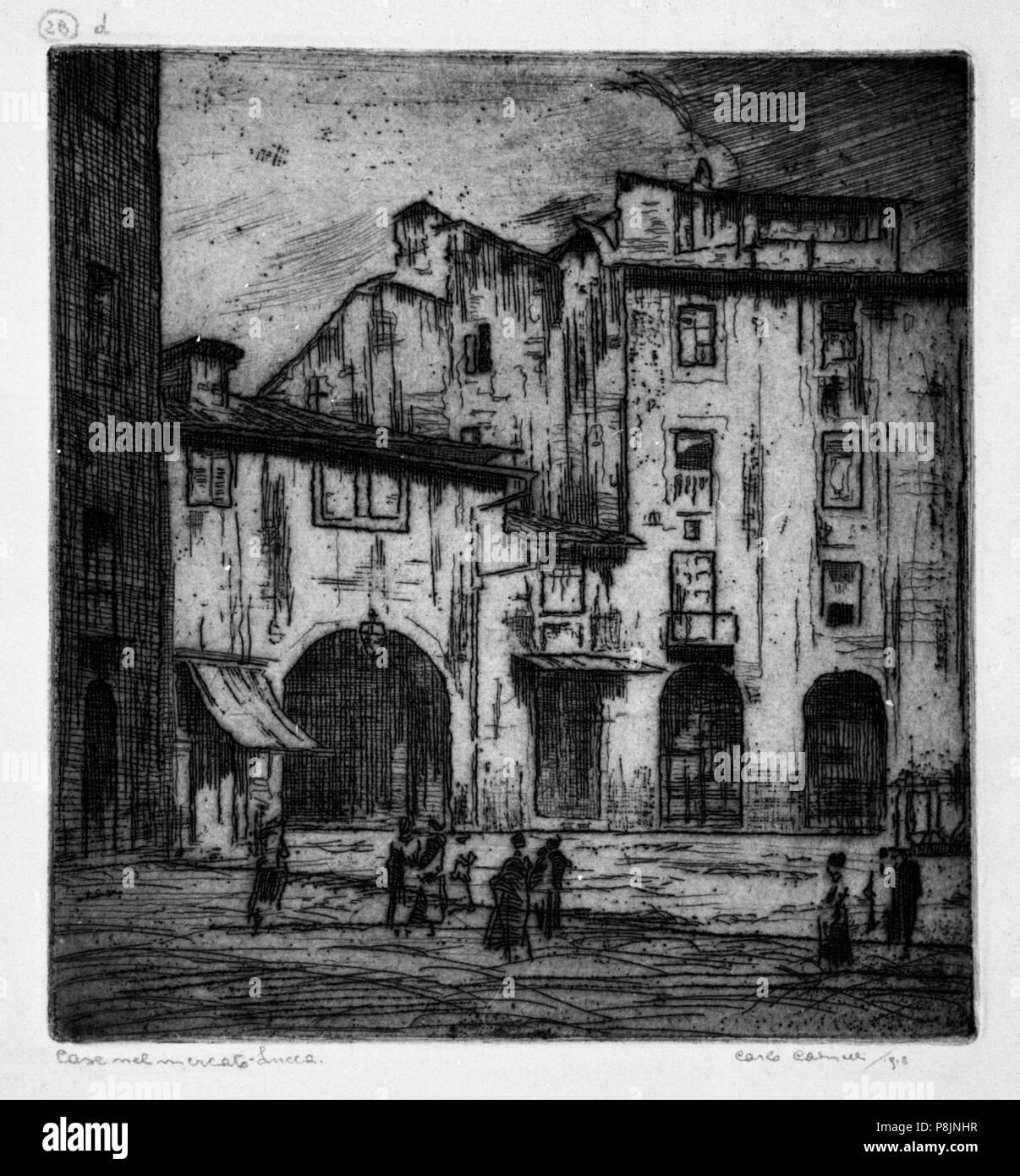76 Carlo Cainelli – Case nel mercato, Lucca - Stock Image