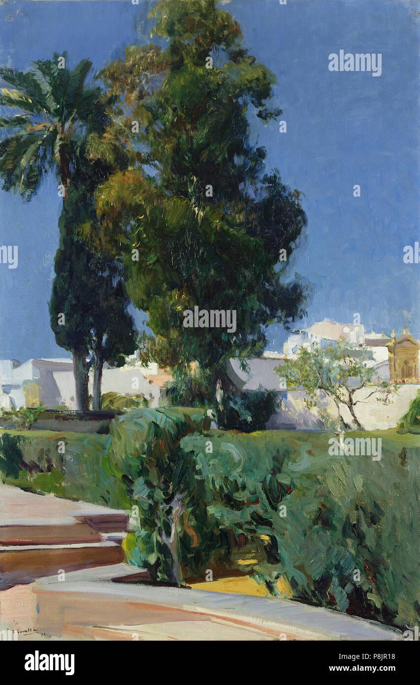 Corner of the Garden, Alcazar, Sevilla; Joaquin Sorolla y Bastida, Spanish, 1863 - 1923; 1910; Oil on canvas; Unframed: 95.3 x 63.5 cm (37 1/2 x 25 in.), Framed: 118.1 x 85.7 x 6.4 cm (46 1/2 x 33 3/4 x 2 1/2 in.); 79.PA.155 525 Joaquín Sorolla y Bastida - Jardines del Alcazar (1910) - Stock Image