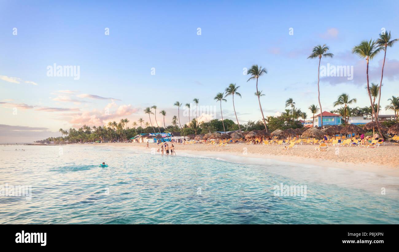 Sun set at Bayahibe beach, La Romana, Dominican republic - Stock Image