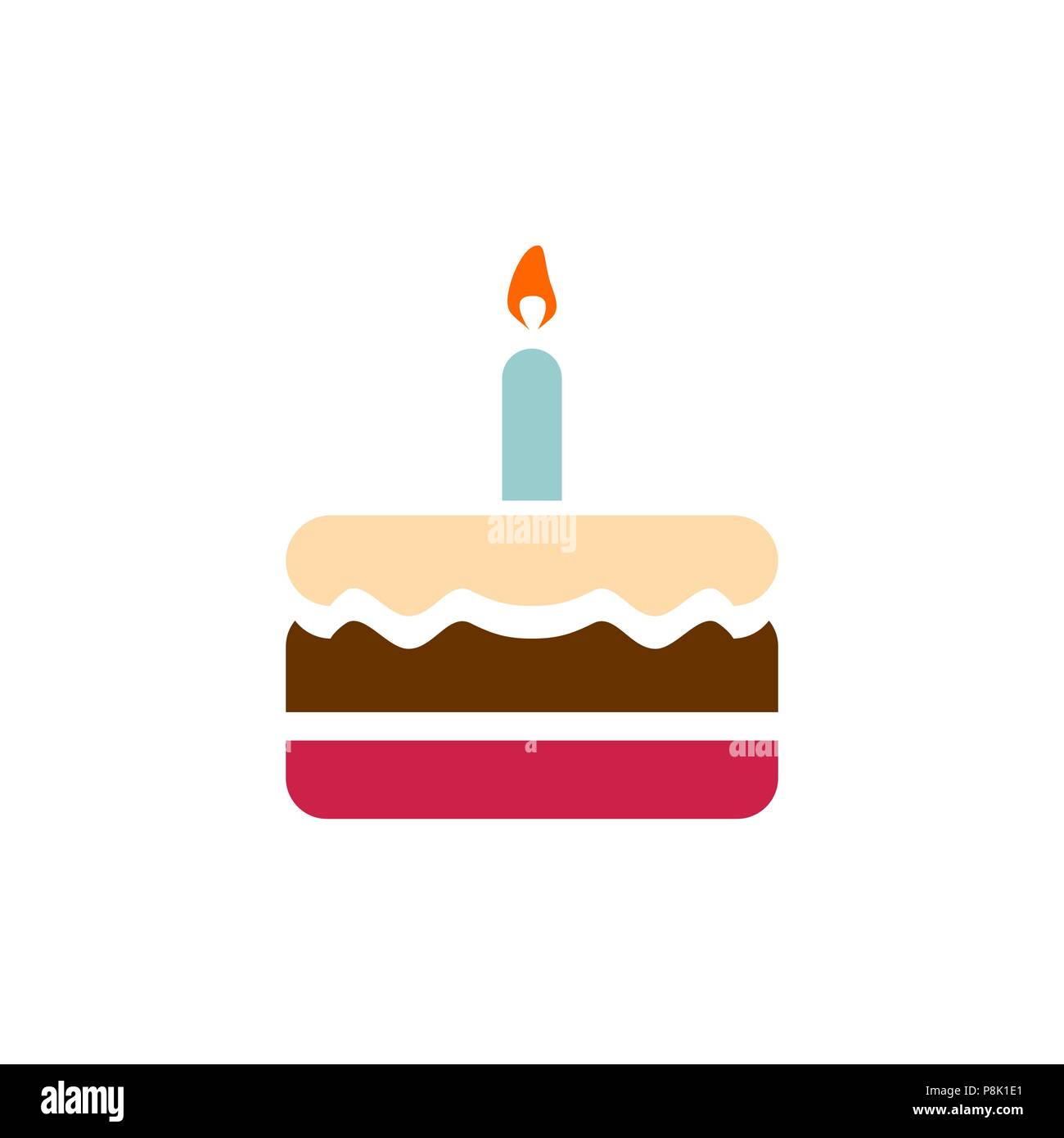 Birthday Cake Icon Simple Flat Style Illustration Image Stock Vector