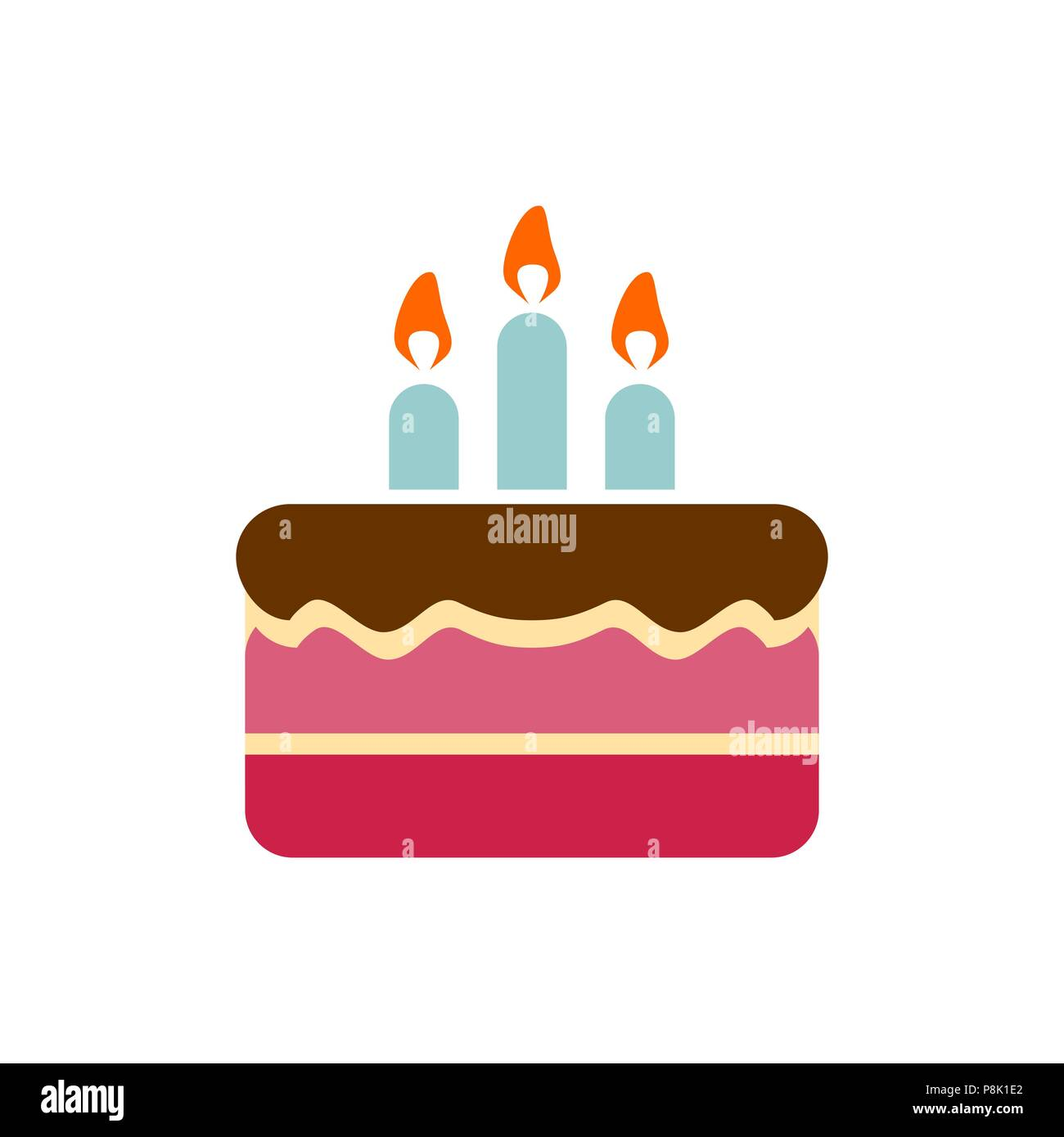 Peachy Birthday Cake Icon Simple Flat Style Illustration Image Stock Funny Birthday Cards Online Kookostrdamsfinfo