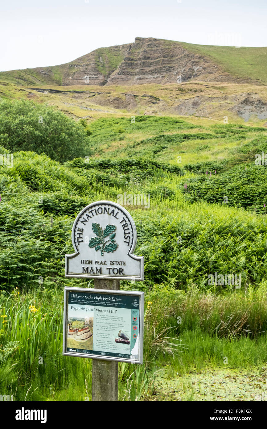 Sign at the foot of Mam Tor, Derbyshire, England, UK - Stock Image