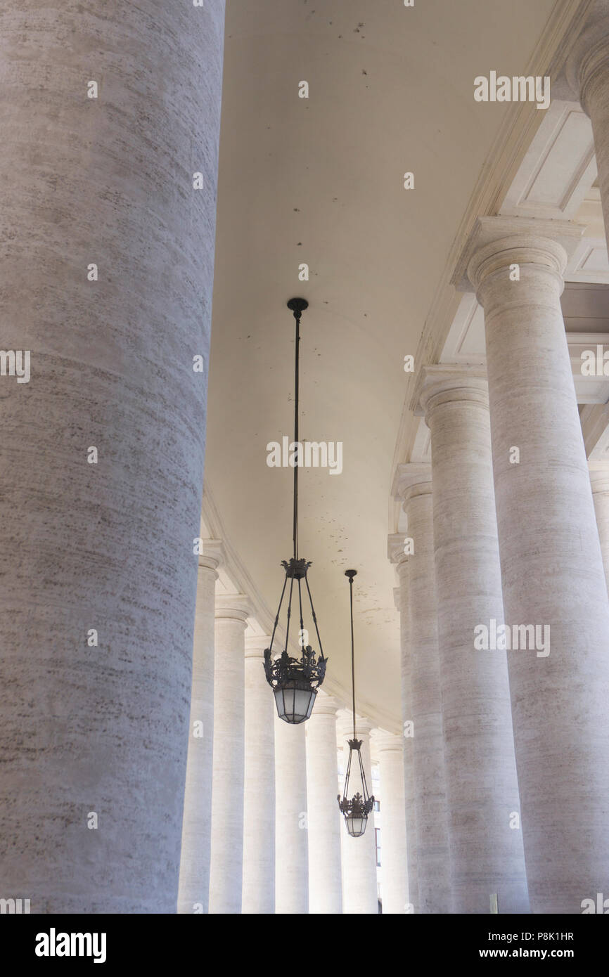 Columns in St Peter's Square Vatican City, Rome - Italy Stock Photo