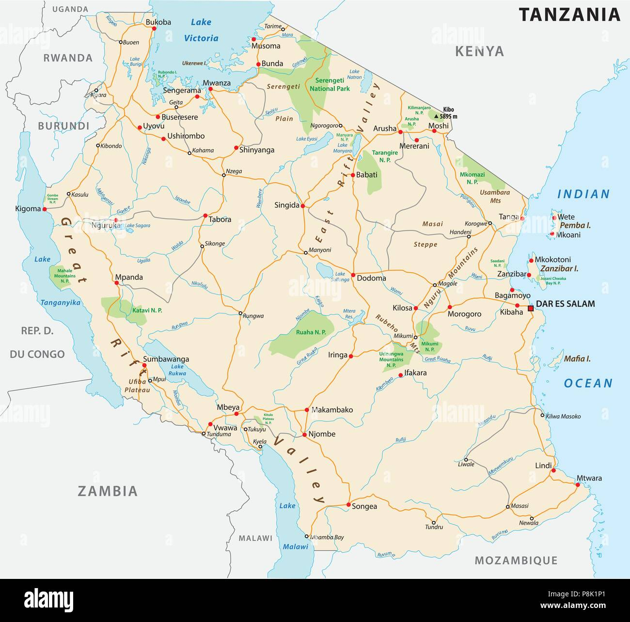 United Republic of Tanzania road vector map Stock Vector