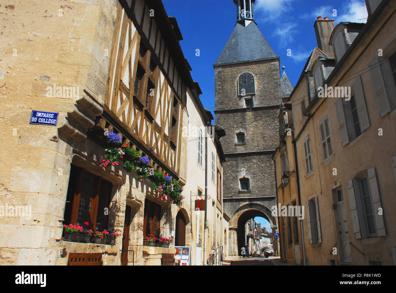 The Medieval town of Avallon is full of historic character.  Please note, the person in the distance is not recognizable. - Stock Image