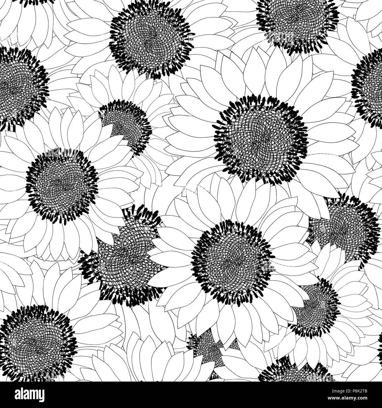 Sunflower Outline Seamless Background Vector Illustration Stock Vector Image Art Alamy You can find more sunflower outline drawing in our search box. https www alamy com sunflower outline seamless background vector illustration image211861003 html