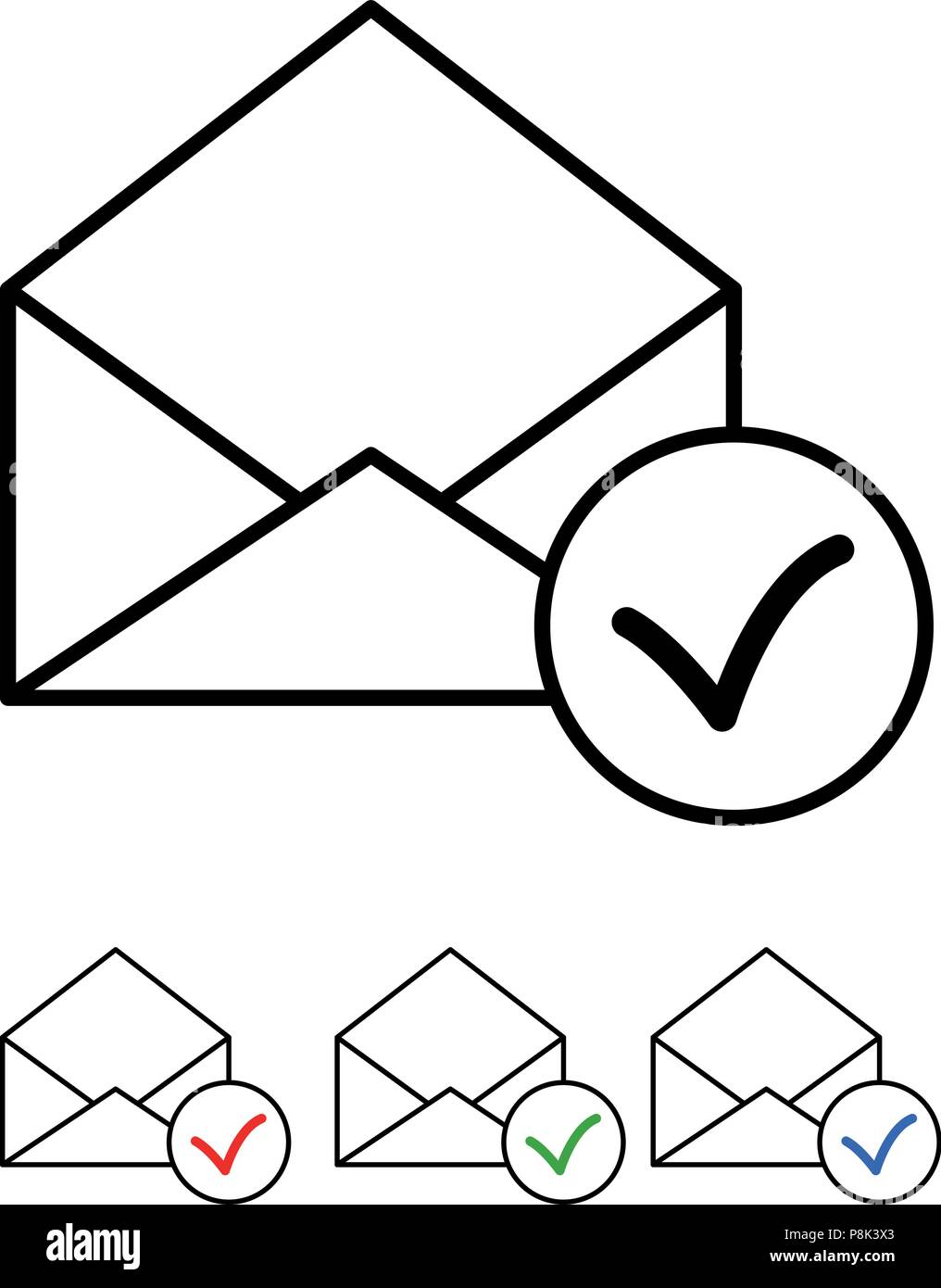 Icon set - Mail with check mark - Vector - Stock Image