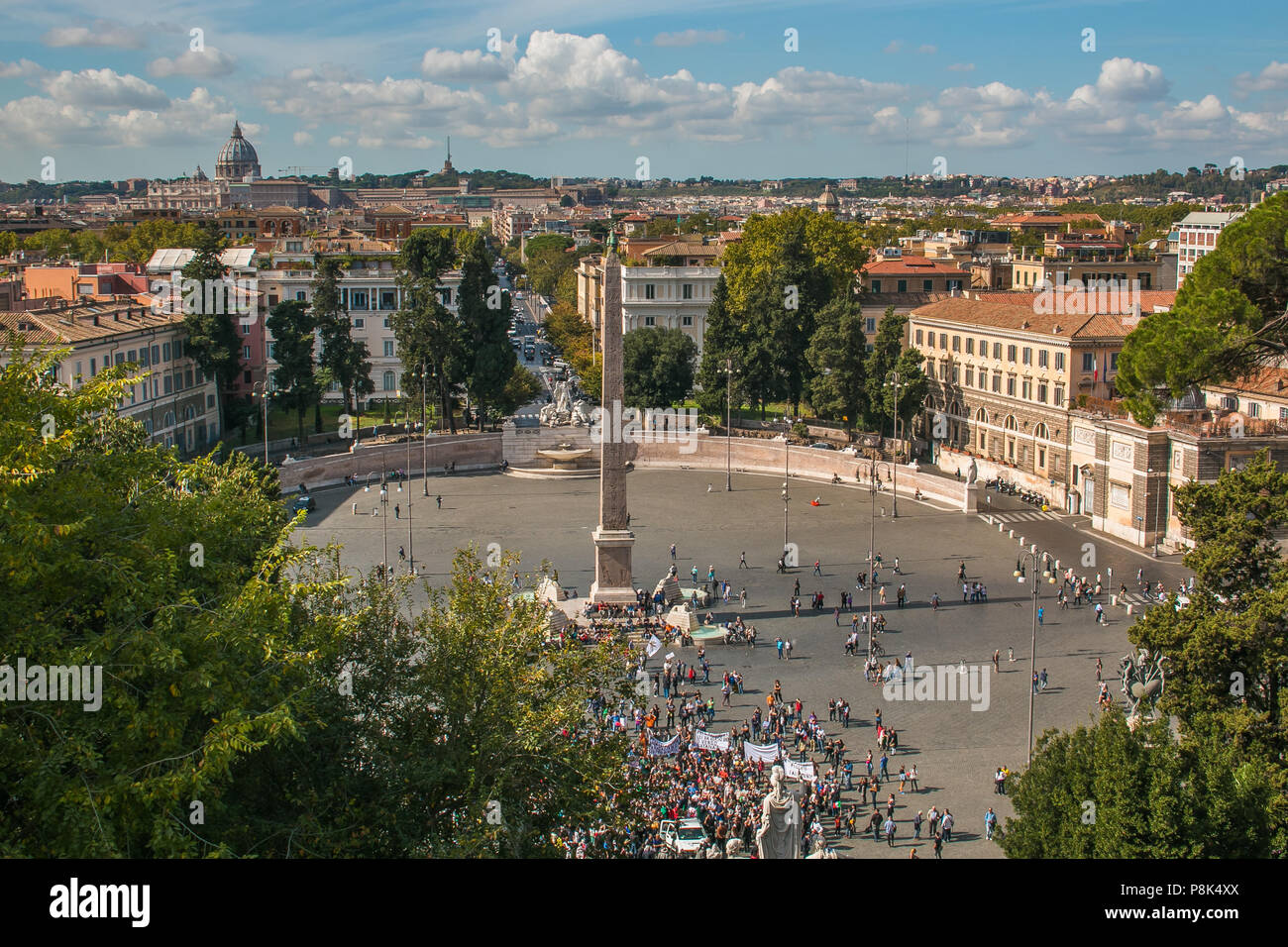 ROME, ITALY - OCTOBER 10, 2017: Aerial view of Piazza del Popolo in Rome, Italy Stock Photo