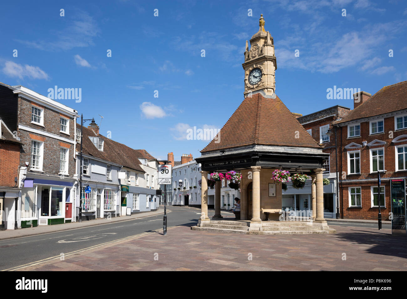 The Clock Tower and The Broadway, Newbury, West Berkshire, England, United Kingdom, Europe - Stock Image