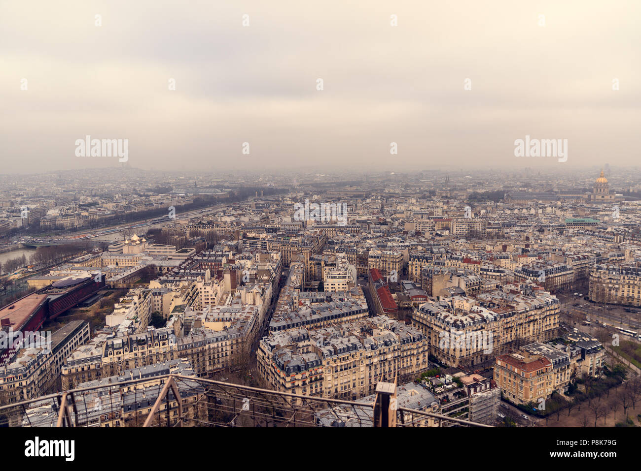 Awesome panoramic view on Paris from Eiffel Tower. Stock Photo