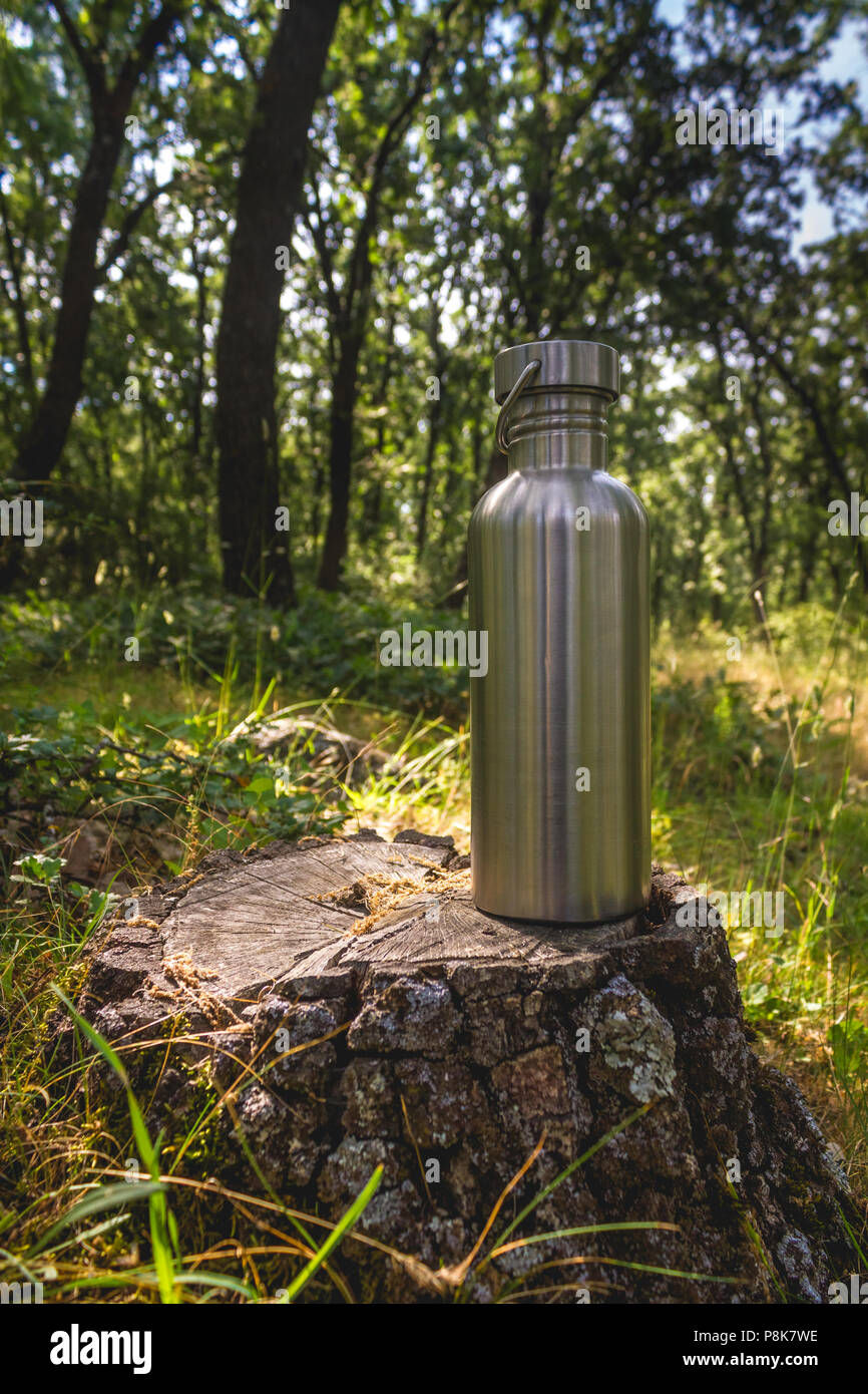 Steel Bottle in Nature, Woodlands, Hiking, Hydration, Plastic reduction - Stock Image